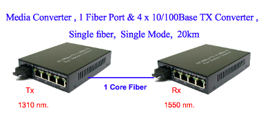 Media Converter , 1 Fiber Port & 4 x 10/100Base TX Converter ,Single fiber,SM, 20km (2)