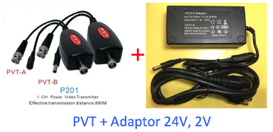 P201, 1CH, Power, Video, Transmission (PVT), 1 Pair, Included Power Adaptor 24V, 2A